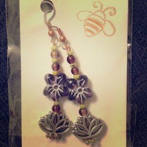 Vintage Czech Glass flower lotus earrings